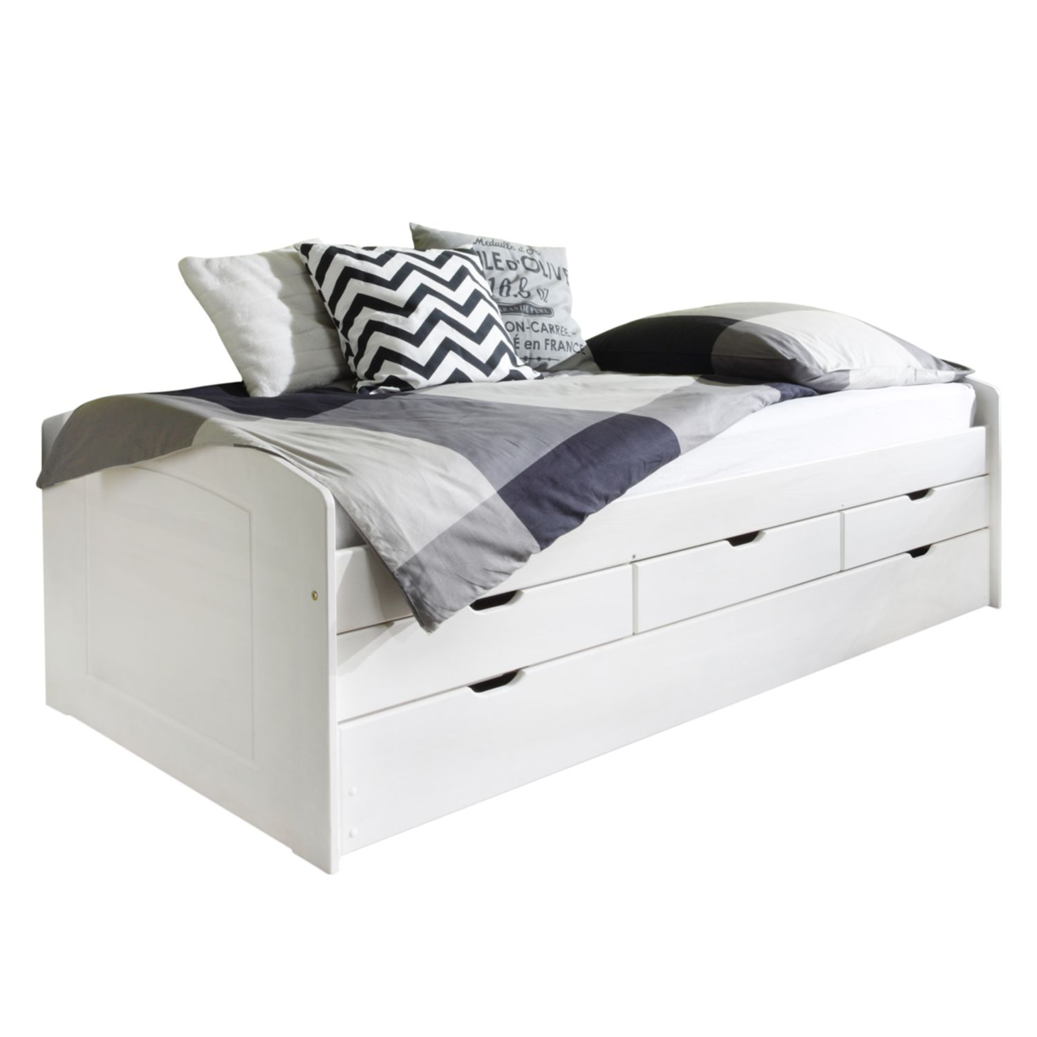 Lit multi-rangements Jessy - Pin massif - Blanc, mooved