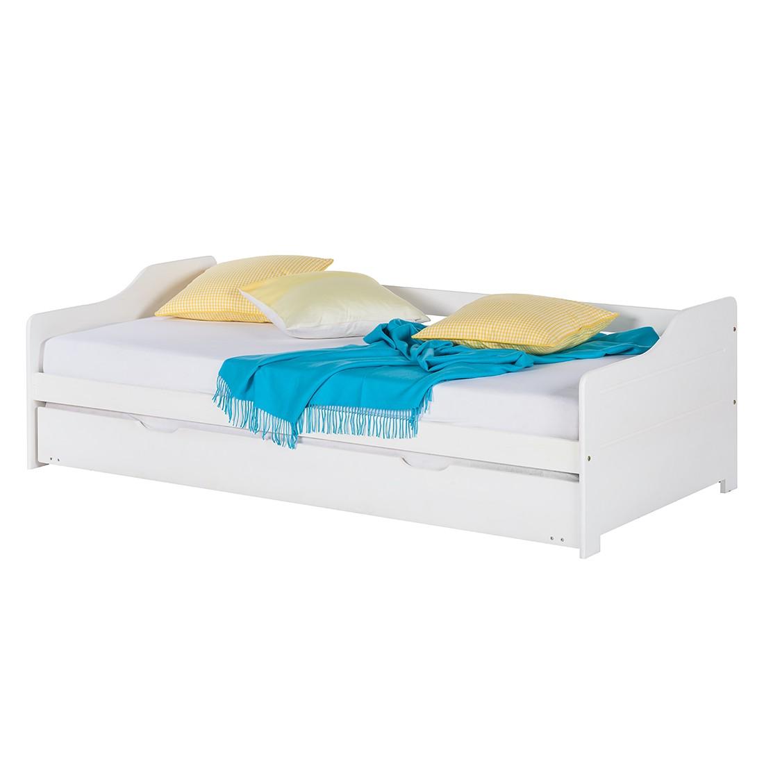 Canapé-lit gigogne Miriam - Avec coffre de lit Pin massif Blanc verni, Kids Club Collection
