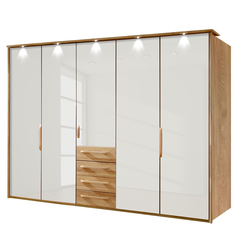 energie  A+, Kledingkast Torino - deels massief eikenhout - LED-verlichting - 250cm (5-deurs) - Magnolia - Met verlichte Passe-partout lijst, Althoff