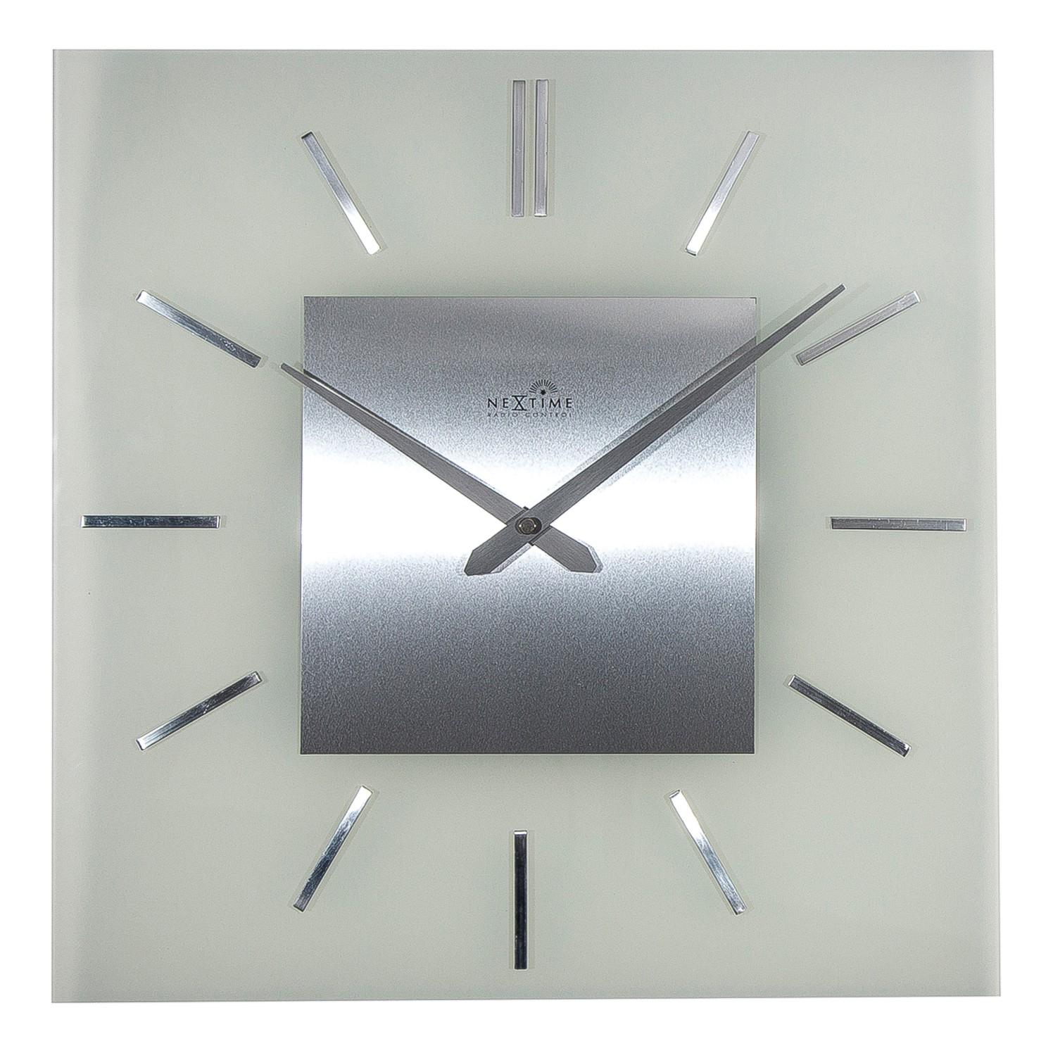 Funkuhr Stripe Square - Gefrostetes Glas - Silber, Nextime