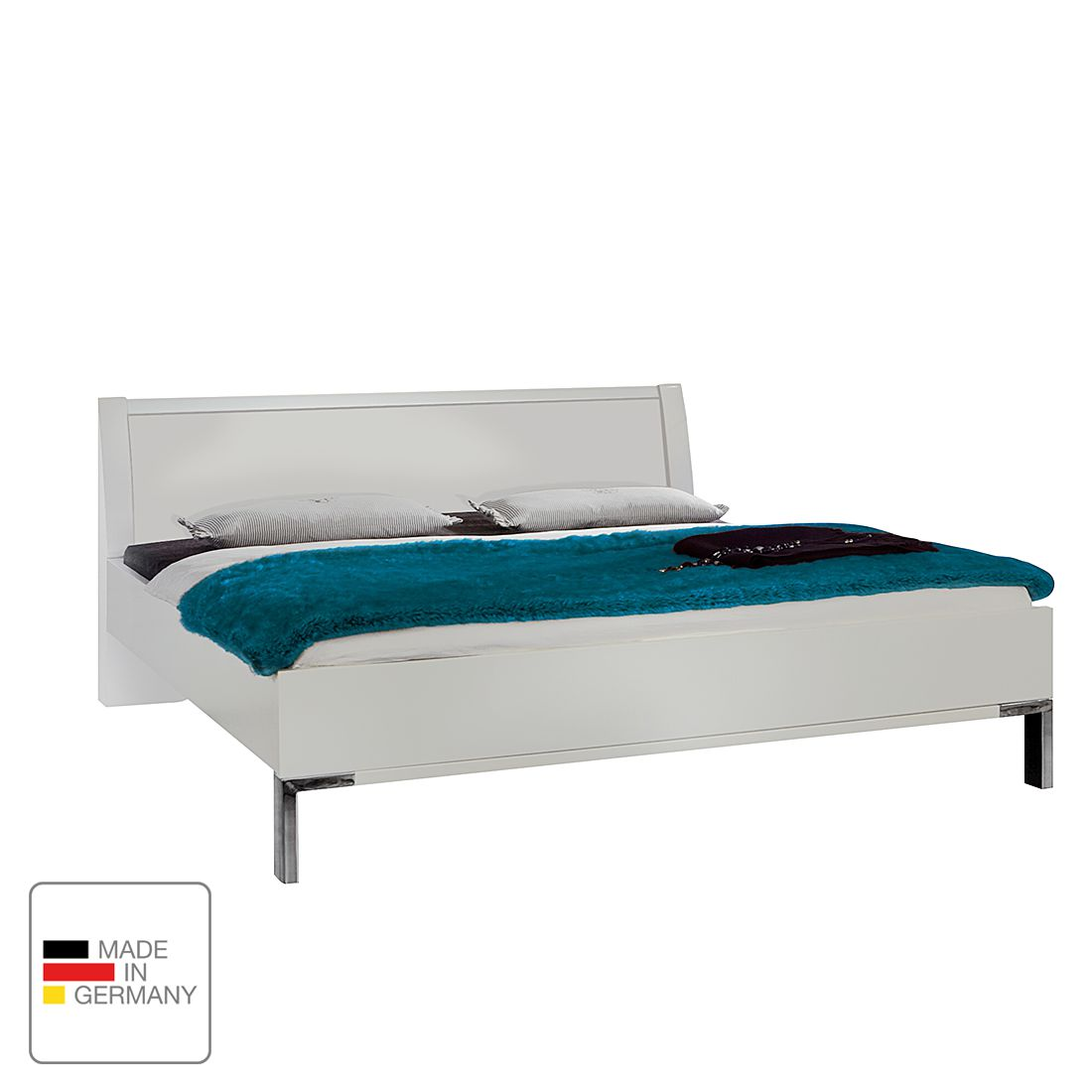 Lit futon Dubai I - Blanc alpin - 140 x 200cm - Sans éclairage, Wiemann