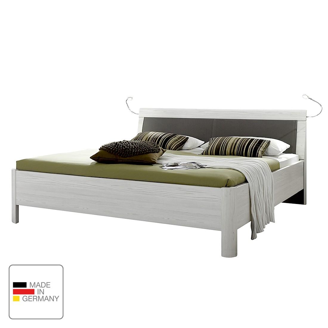 EEK A+, Lit confort Lisbonne - Imitation mélèze polaire / havane - 180 x 190cm - Eclairage LED - Pas
