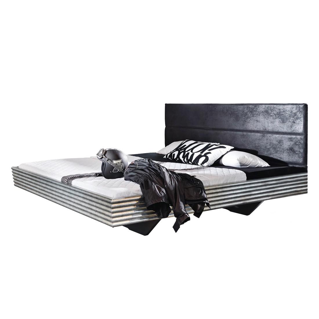 Lit futon Workbase I - Plateau argenté / Cuir synthéthique noir Buffalo - 140 x 200cm, Rauch Select