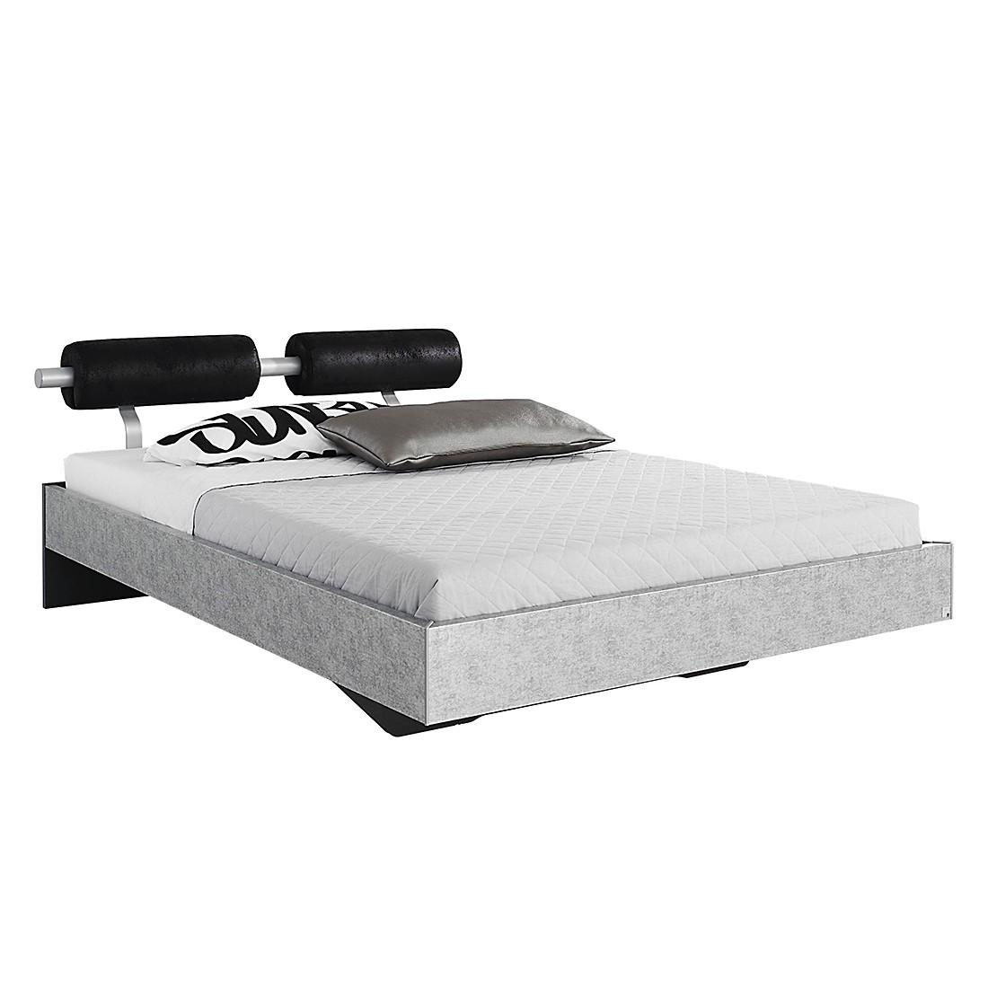Lit futon Workbase IV - Plateau argenté / Cuir synthéthique noir Buffalo - 90 x 200cm, Rauch Select