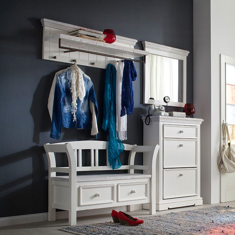 Garderobeset Opia II (4-delige set) - wit massief grenenhout vintage, Maison Belfort