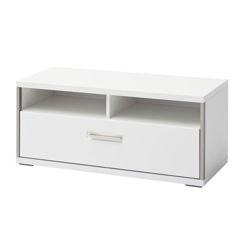 Garderobebank Arco - hoogglans wit, loftscape