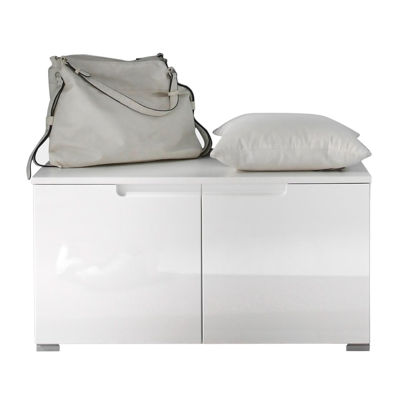 Garderobebank Larado - hoogglans wit, Fredriks
