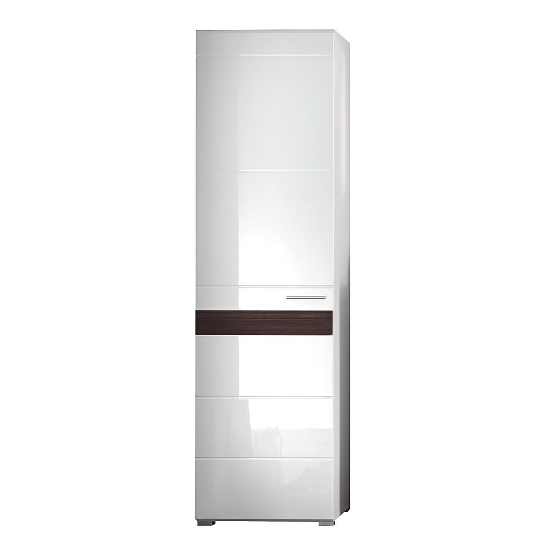 Armoire de vestibule Baku - Blanc brillant / Imitation chêne foncé, Trendteam