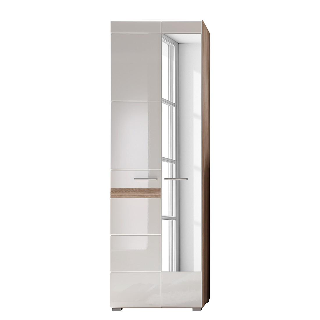 Home 24 - Armoire de vestibule baku - blanc brillant / imitation chêne de san remo, trendteam