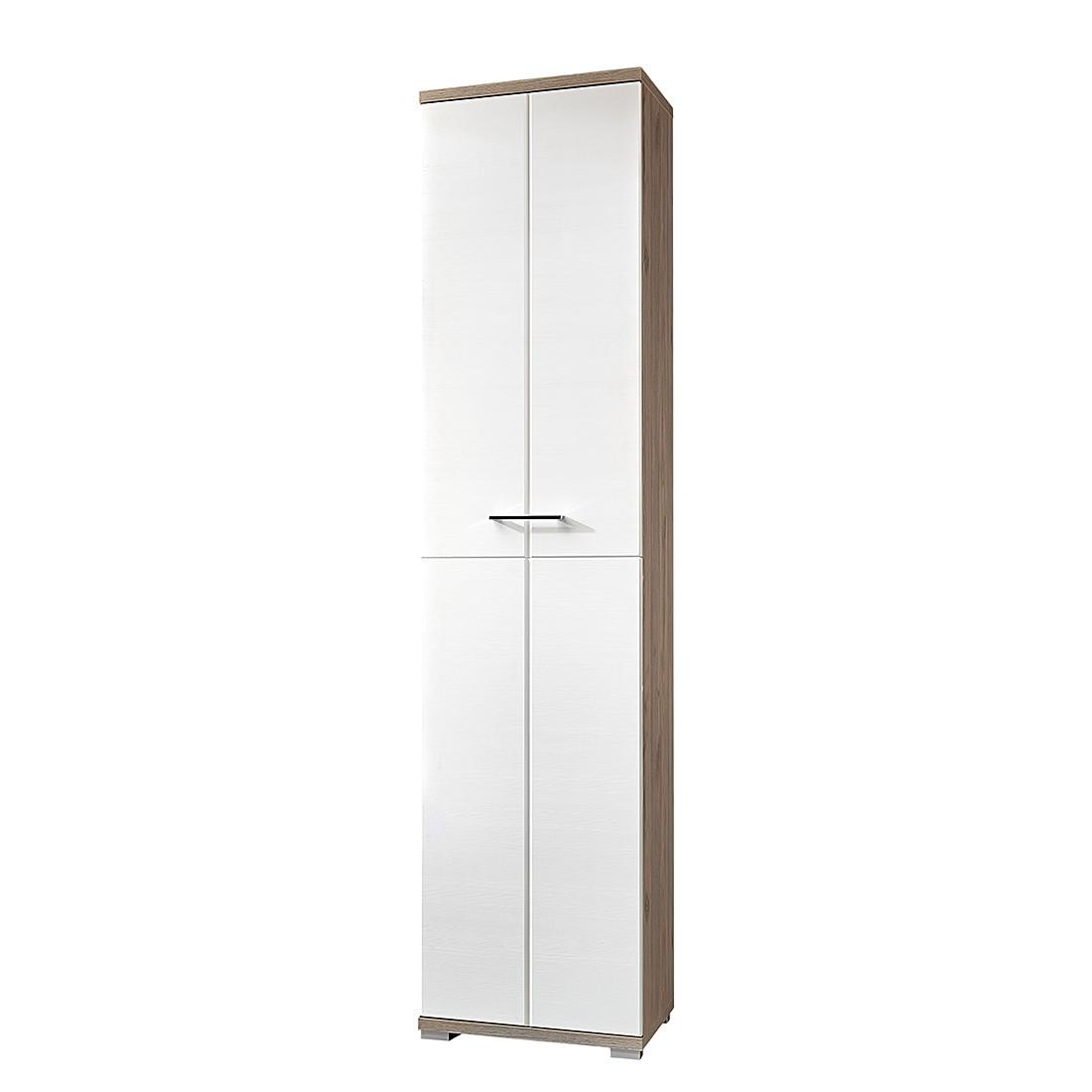 Armoire de vestibule Puls - Imitation chêne argenté / Blanc, Fredriks