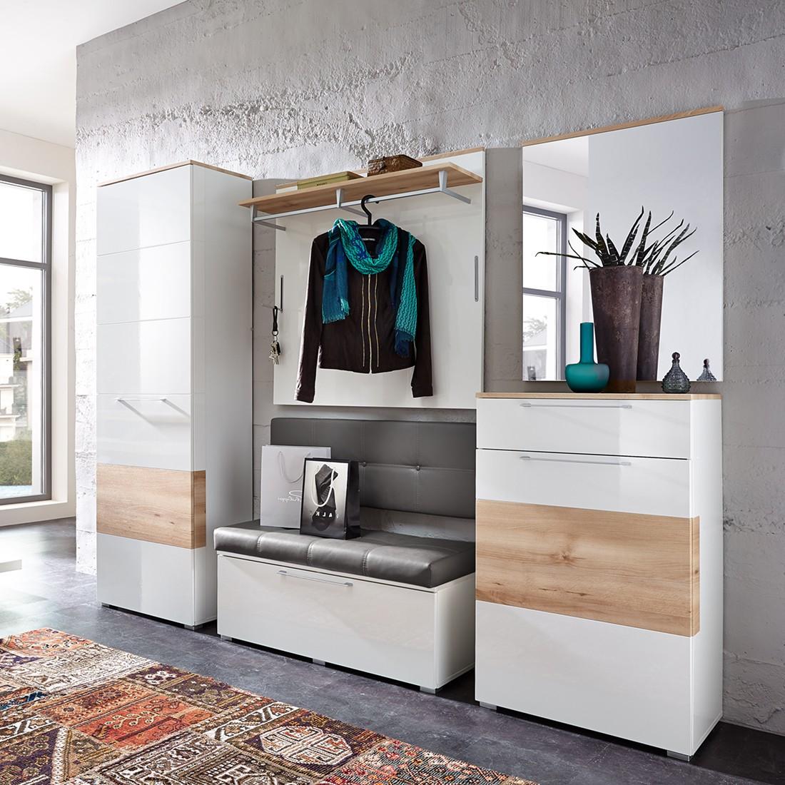 Garderobeset Exterior (5-delige set) - Hoogglans wit/beukenhouten look, Fredriks