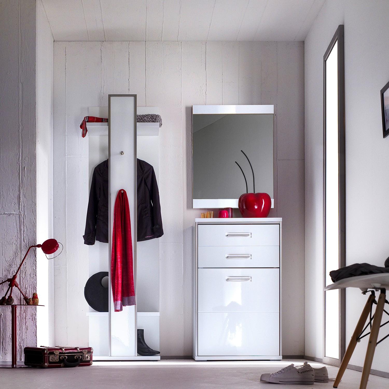 Garderobeset Arco I (3-delige set) - hoogglans wit, loftscape