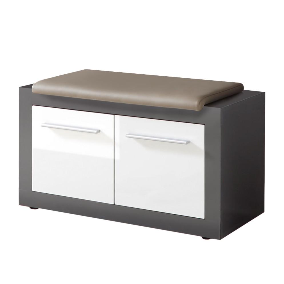 Garderobebank Bettna - hoogglans wit/antraciet, mooved