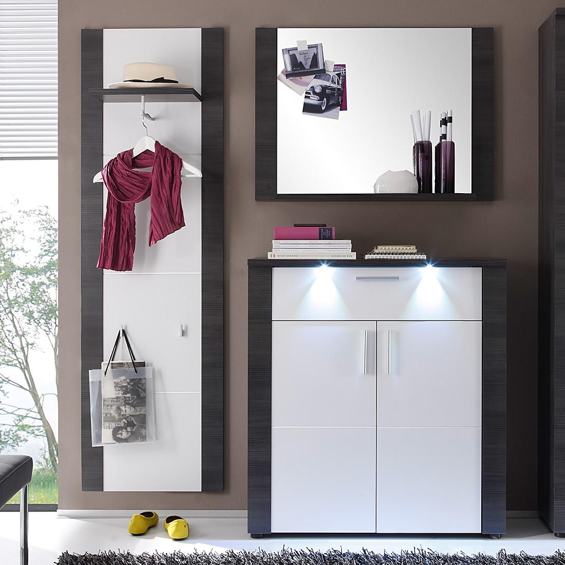 energie  A+, Garderobeset Bigio II (3-delig) - grijze essenhouten look/wit - met verlichting, Fredriks