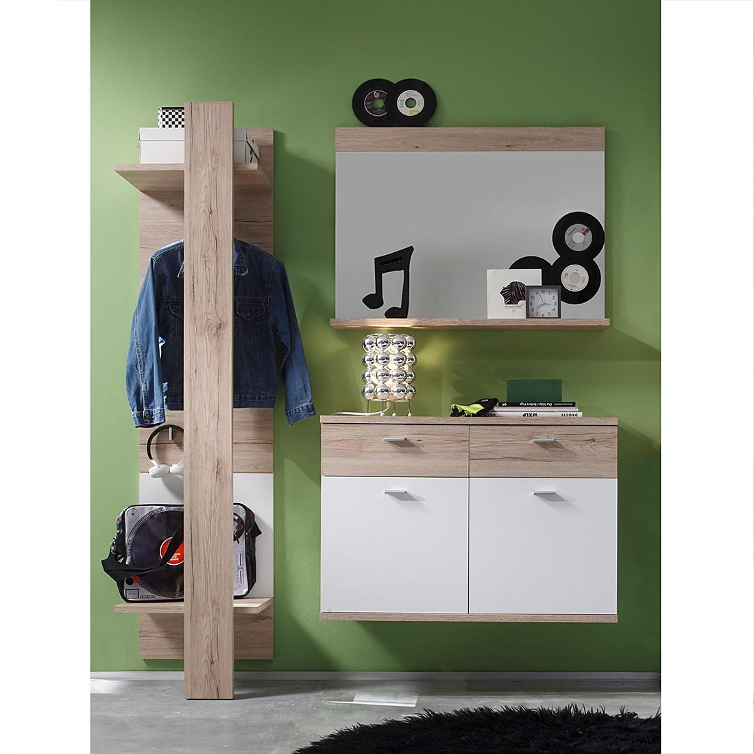 Garderobeset Creston I (3-delig) - San Remo eikenhouten look/wit, Trendteam