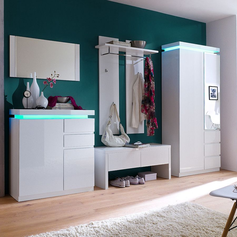 energie  A+, Garderobenset Emblaze (5-delige set) - hoogglans wit met verlichting, Fredriks