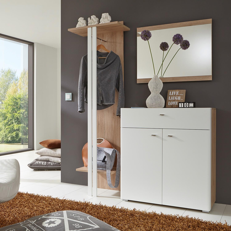 Garderobeset Matino II (3-delige set) - San Remo eikenhouten look - mat wit, loftscape