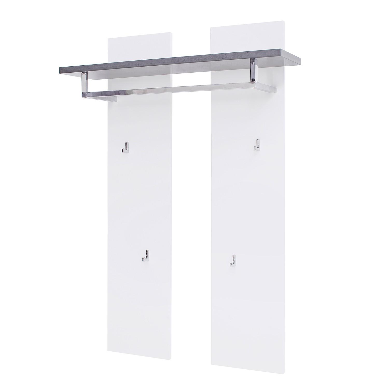 Garderobepaneel Namona (inclusief verlichting) - mat wit/betonnen look, Fredriks