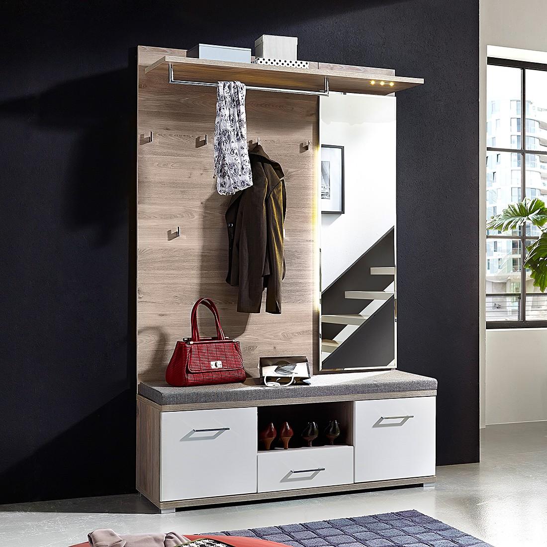 Garderobeset Puls II (3-delig) - zilvereikenhouten look/wit, Fredriks
