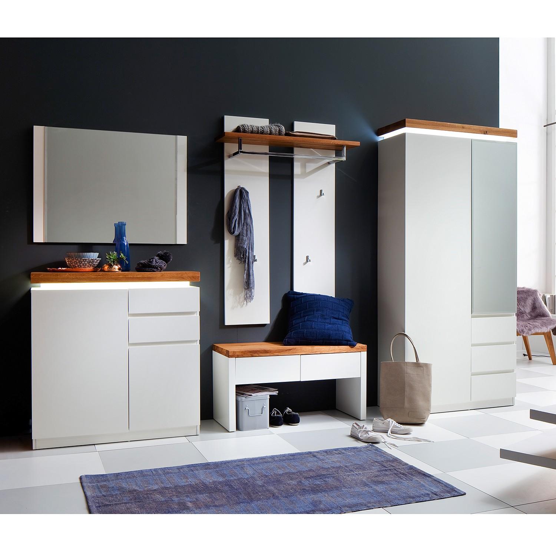 energie  A+, Garderobeset Roble (5-delig) - inclusief verlichting - mat wit/knoestig eikenhout, Fredriks