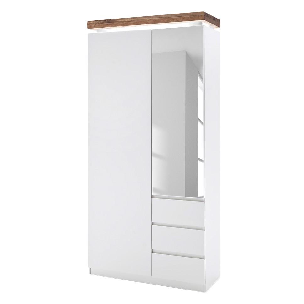 EEK A+, Armoire de vestibule Roble - Avec éclairage - Blanc mat / Chêne à nœuds, Fredriks