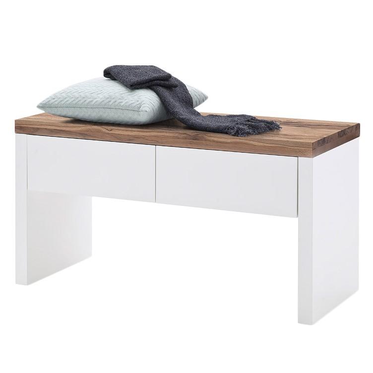Garderobebank Roble - mat wit/knoestig eikenhout, Fredriks