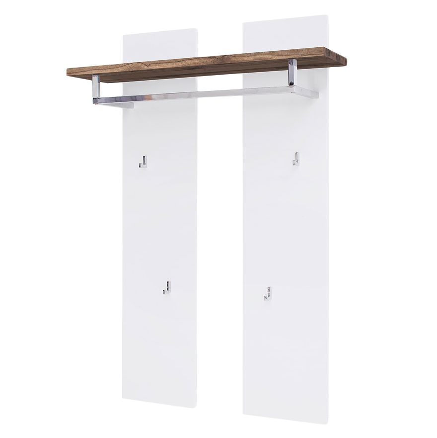 Garderobepaneel Roble - inclusief verlichting - mat wit/knoestig eikenhout, Fredriks