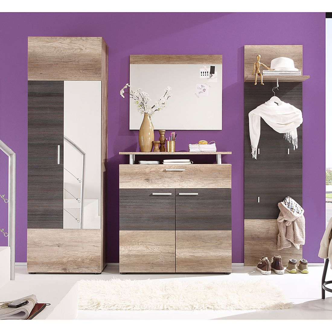 Garderobeset Rockland (4-delige set) - Canyon eikenhouten look/Touchwood look, Trendteam