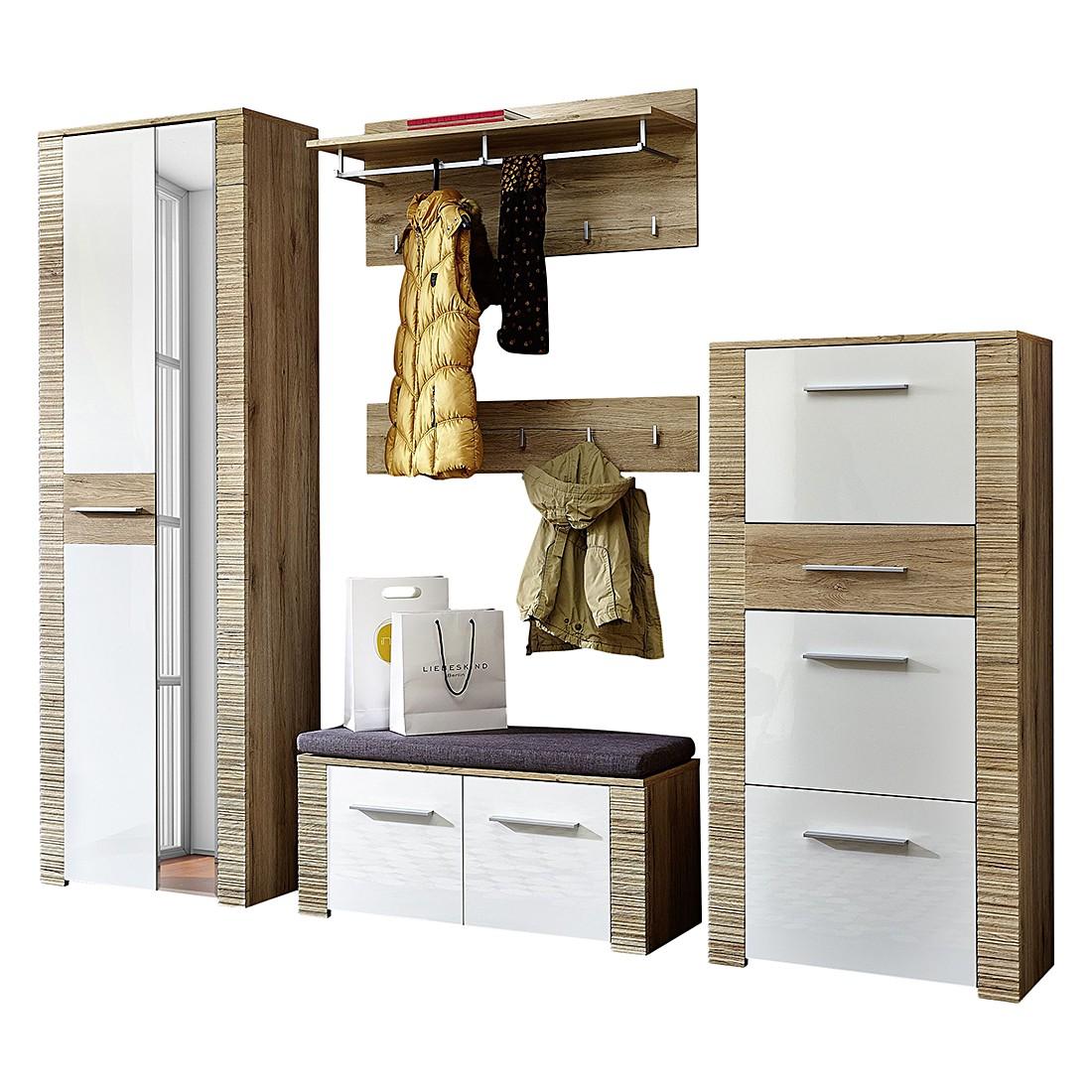 Home 24 - Ensemble de vestibule rowdy (5 éléments) - imitation chêne de san remo / blanc brillant, modoform