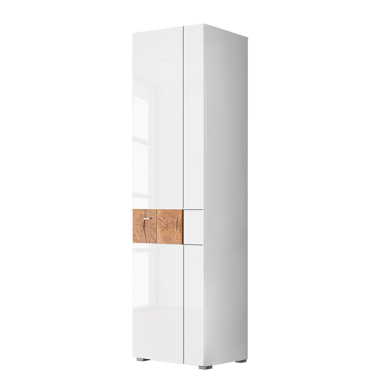Garderobekast Sibo - hoogglans wit/eikenhouten look, mooved