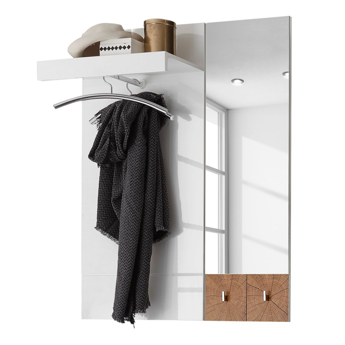 Garderobepaneel Sibo - wit/eikenhouten look, mooved