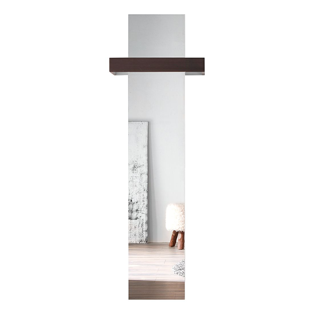 Garderobespiegel Baku - hoogglans wit/donker eikenhouten look, Trendteam