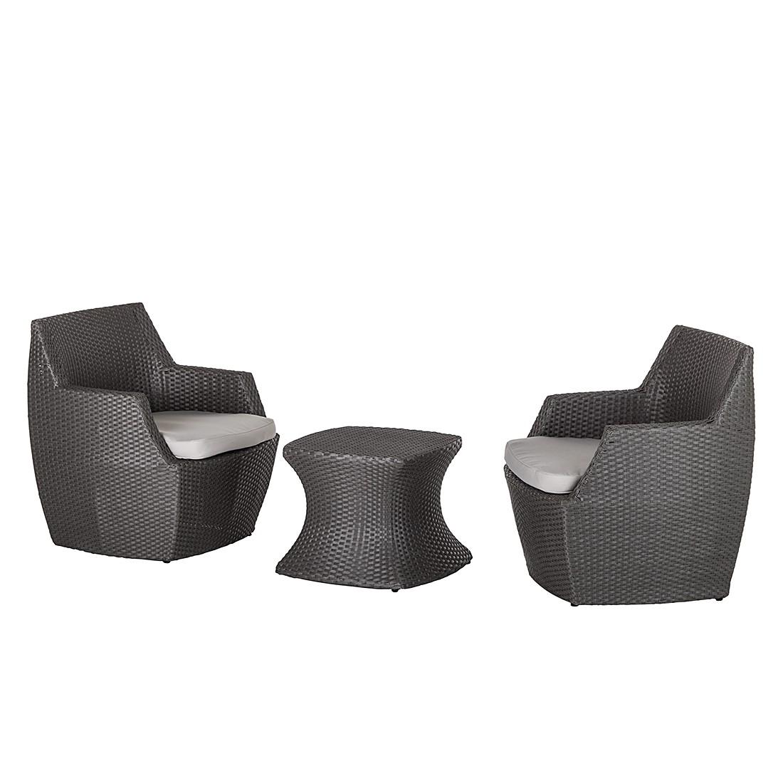 Home 24 - Ensemble de fauteuils paradise lounge (3 éléments) - usage en extérieur - gris, fredriks
