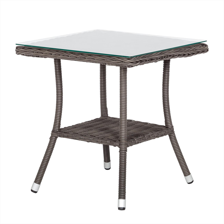 Table d'appoint de jardin Cap Ferrat - Polyrotin / Verre, Maison Belfort