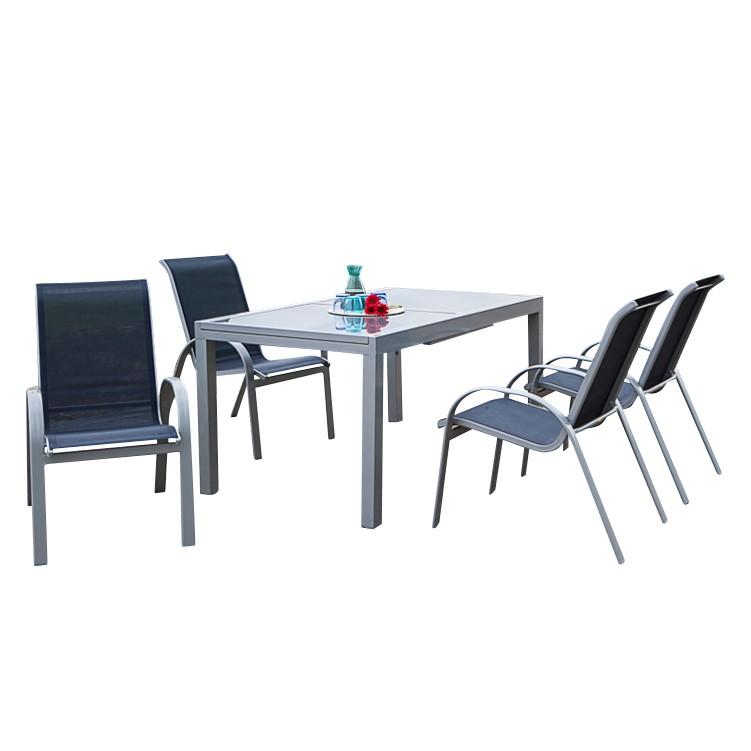 Gartenessgruppe Amalfi I (5-teilig) - Aluminium / Textilene, Merxx