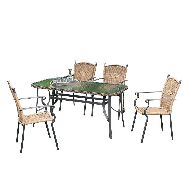 gartenessgruppe roma ii 5 teilig aluminium polyrattan merxx g nstig online kaufen. Black Bedroom Furniture Sets. Home Design Ideas