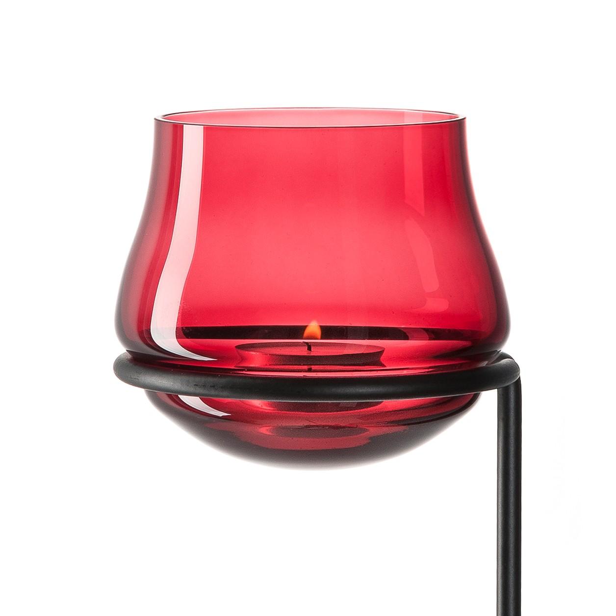 Tuinwindlicht Giardino - glas/metaal - Donkerrood/zwart, Leonardo