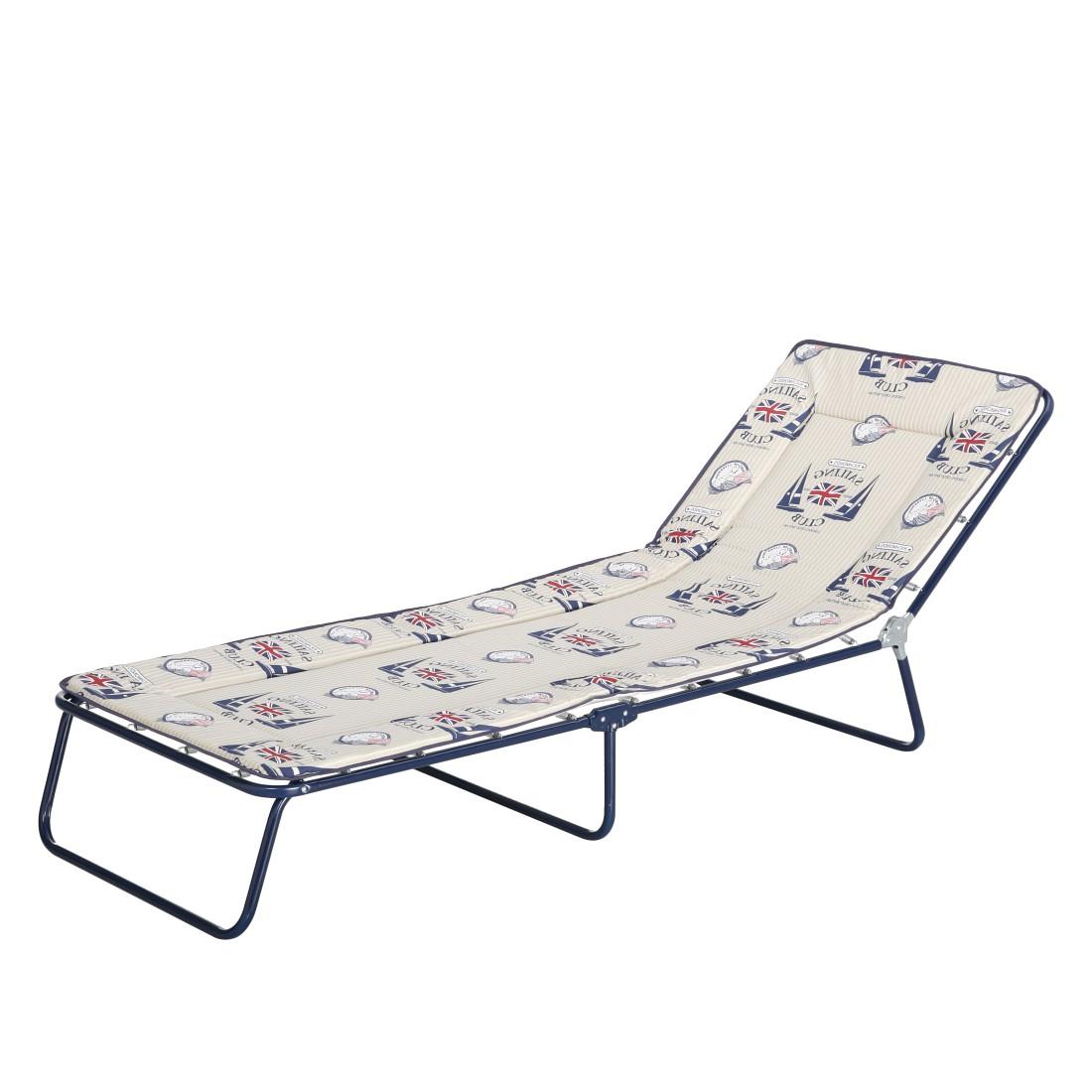 Gartenliege Chiemsee 3-Bein (inkl. Polsterauflage) - Stahlrohr/Textil - Blau/Blau-Beige Motive, Best Freizeitmöbel