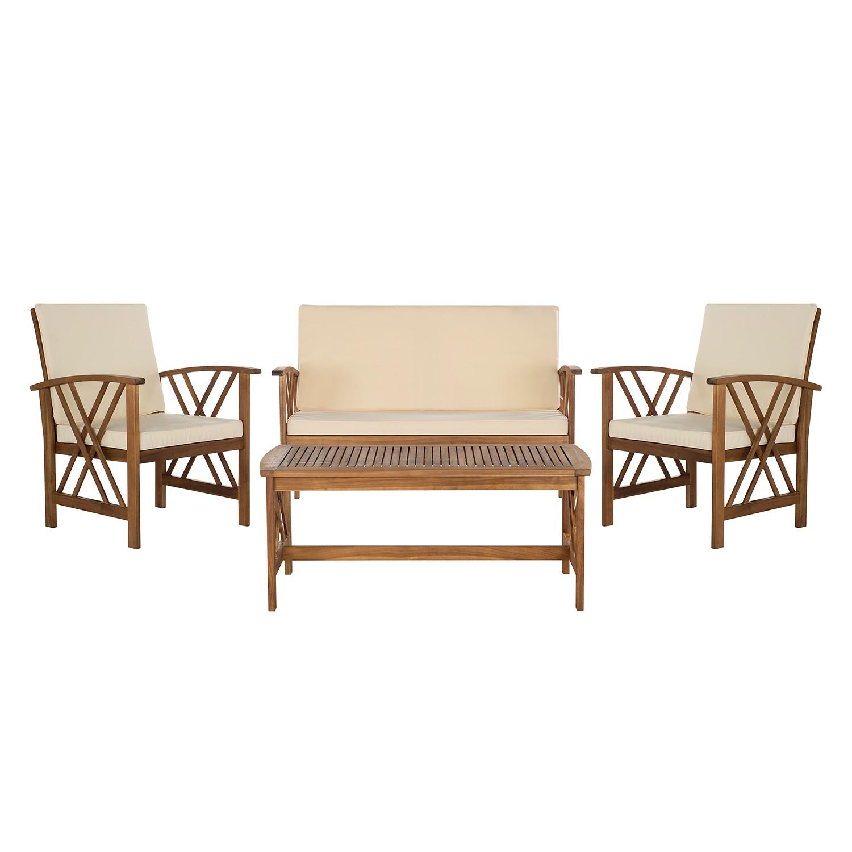 Gartenmöbelset Easton (4-teilig) - Akazie massiv - Braun / Beige, Safavieh