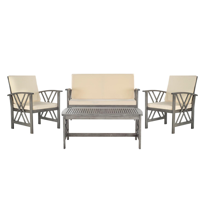 Gartenmöbelset Easton (4-teilig) - Akazie massiv - Grau / Beige, Safavieh