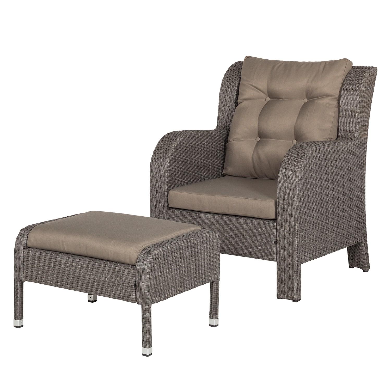 Fauteuil de jardin Villanova (avec repose-pieds) - Polyrotin gris / Textile gris, Maison Belfort