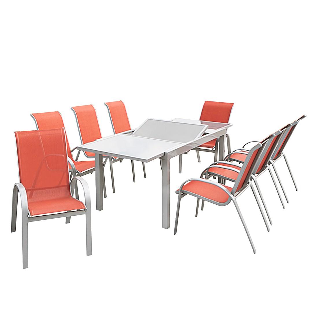 Gartensitzgruppe Amalfi II (9-teilig) - Aluminium Silber/Kunstfasergewebe Terracotta, Merxx