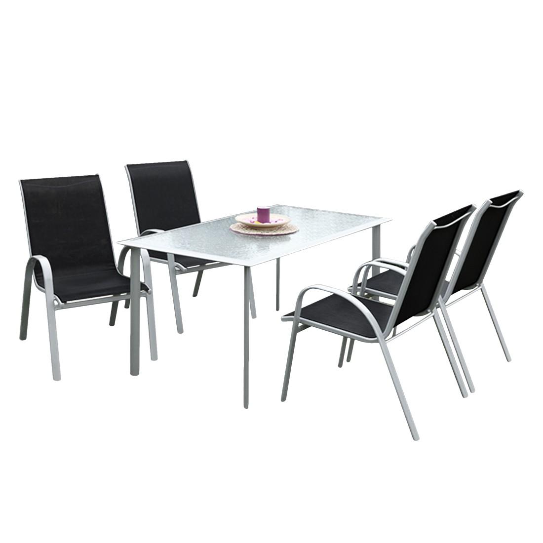 Gartensitzgruppe Avellino I (5-teilig) - Stahl - Schwarz, Merxx