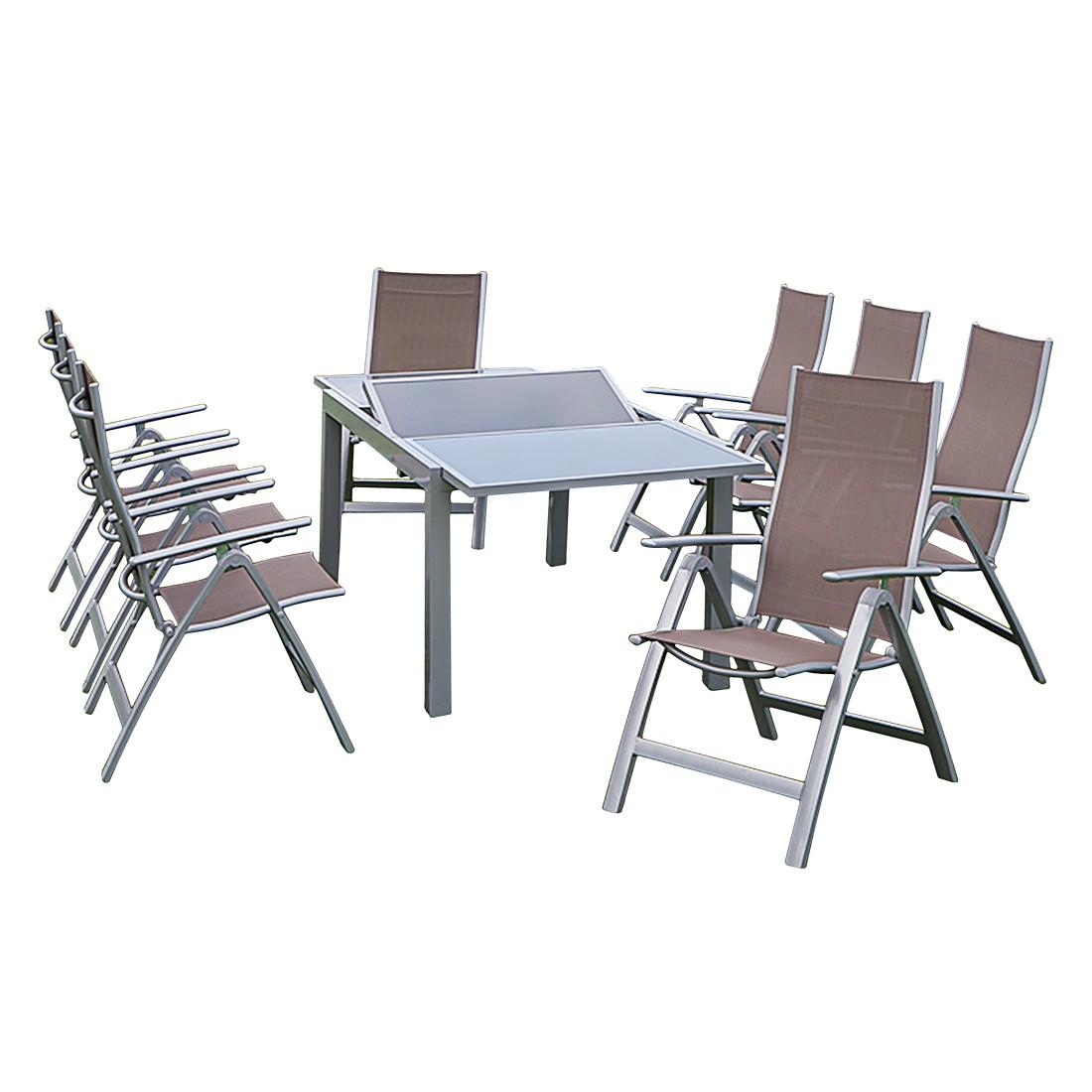 Gartenessgruppe Carrara II (9-teilig) - Aluminium - Taupe, Merxx