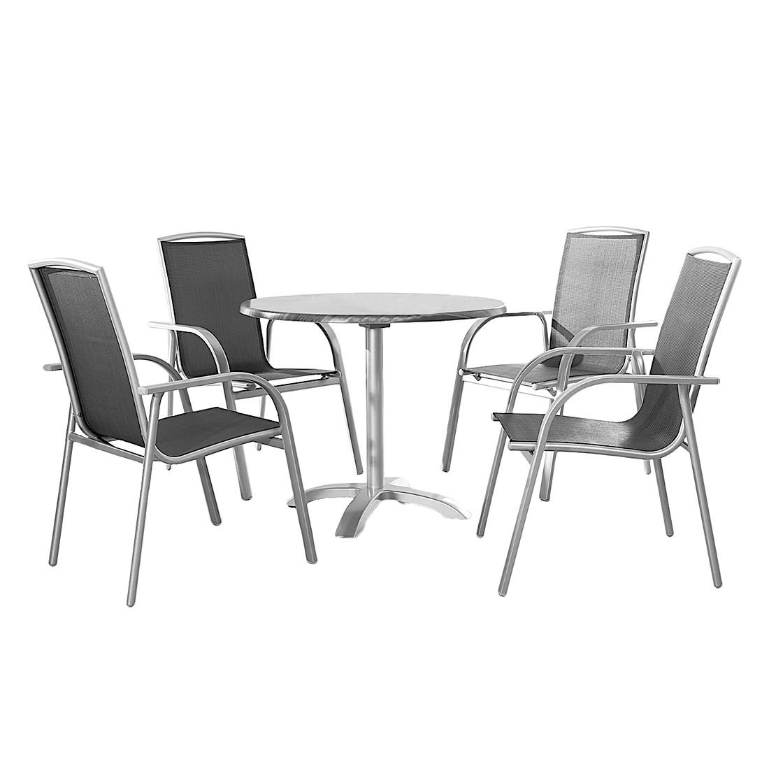 Gartensitzgruppe Milazzo (5-teilig) - Aluminium/Werzalit/Ergotex, Best Freizeitmöbel