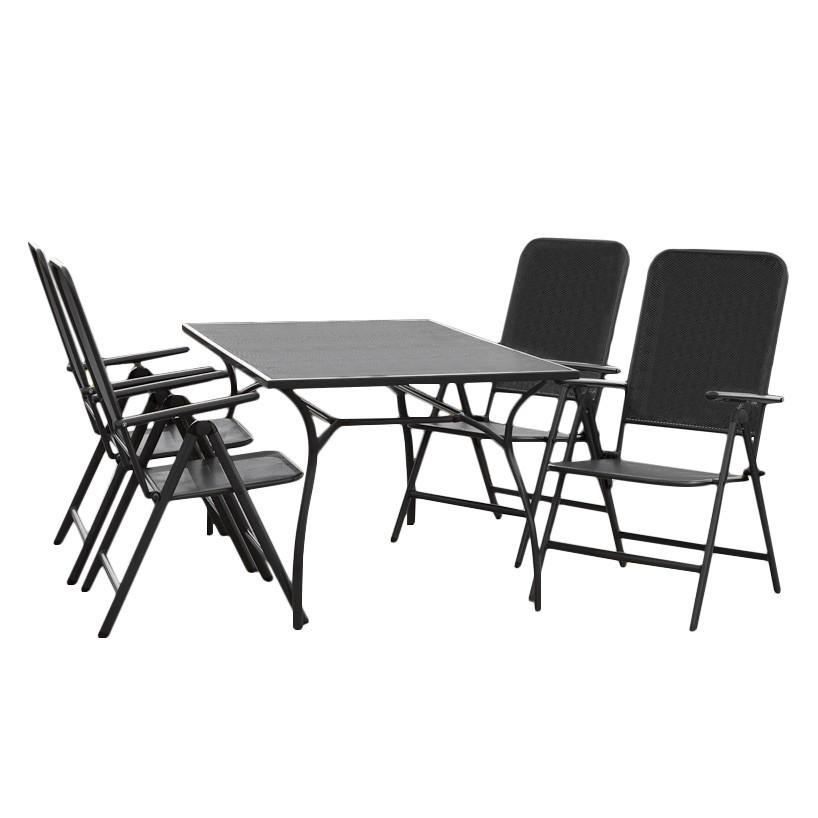 Gartensitzgruppe Paxos I (5-teilig) - Stahl Graphit, Merxx