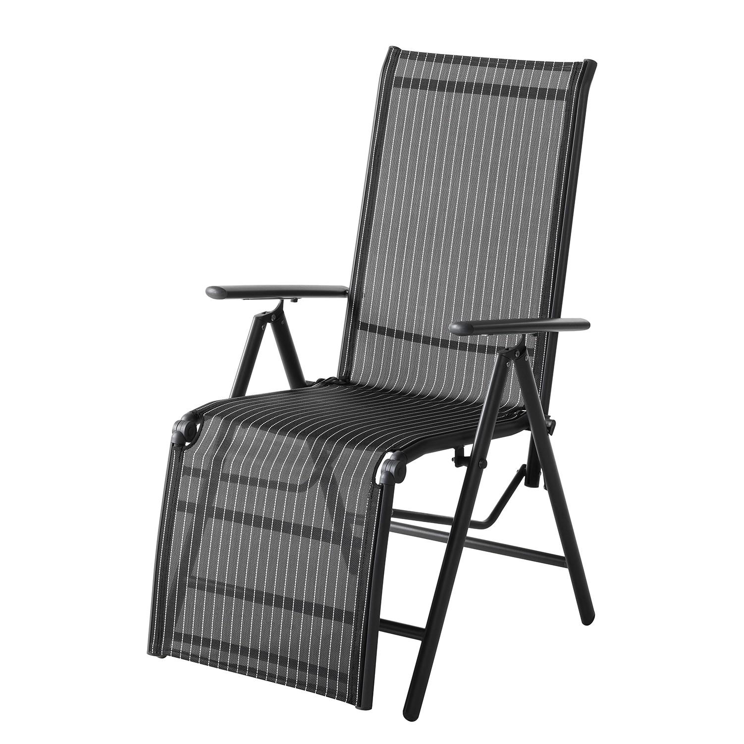 Chaise de jardin Linu I - Textilène / Aluminium - Noir / Gris, mooved