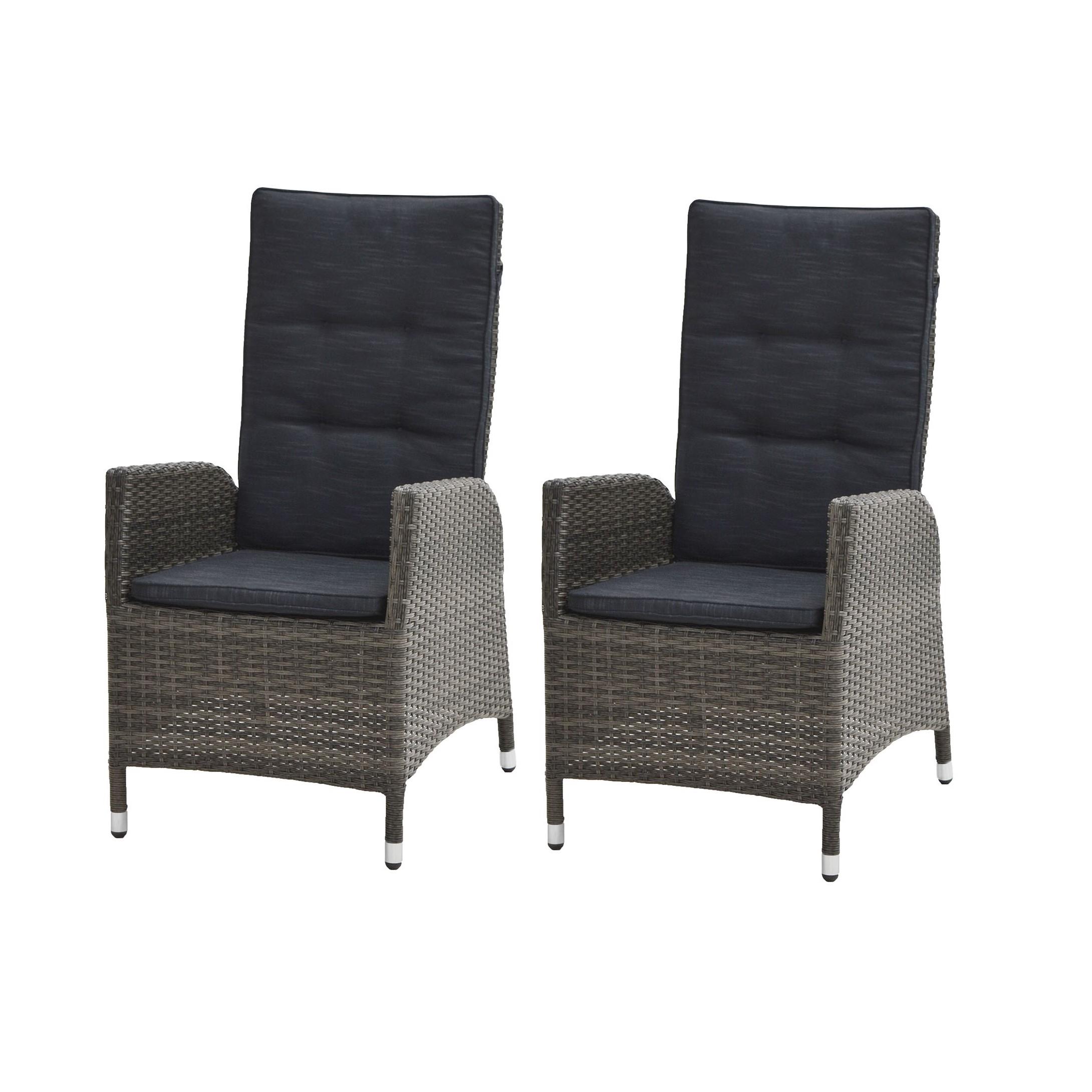 Chaise de jardin Rocking (lot de 2) - Polyrotin / Tissu - Marron gris / Anthracite, Ploß