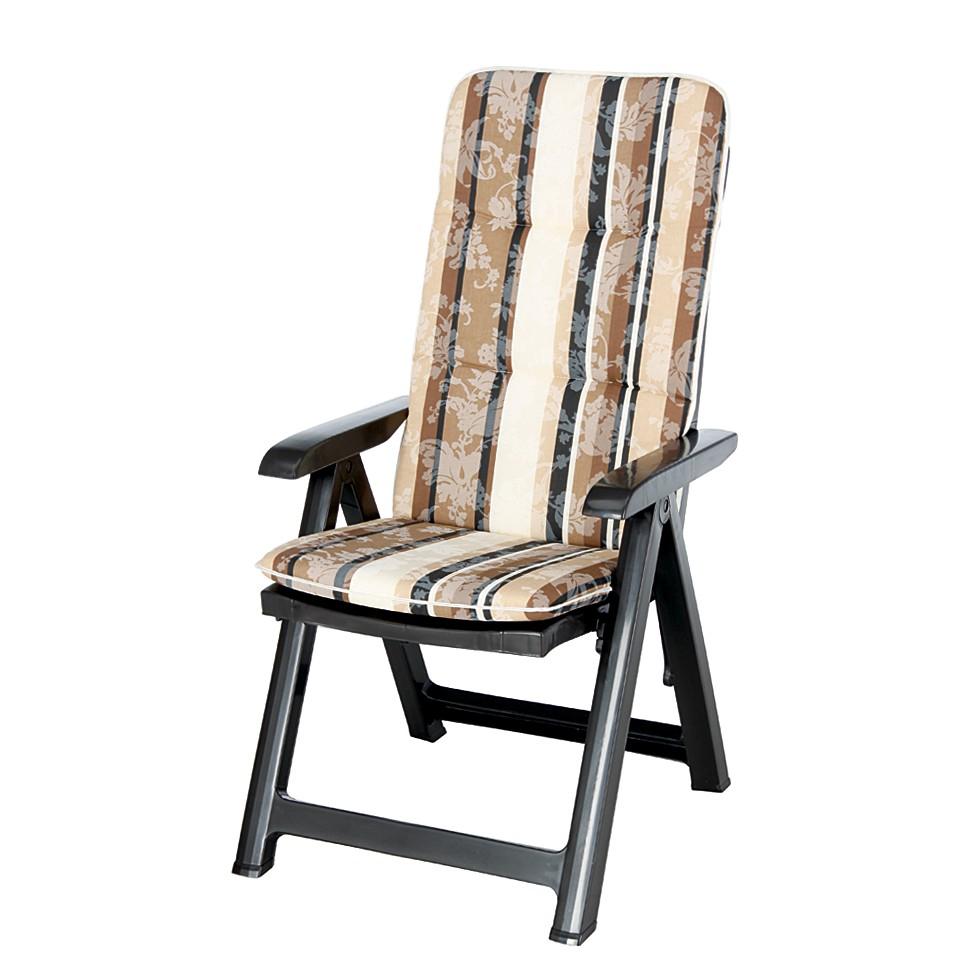 Home 24 - Chaise de jardin santiago - pliante - surmatelas fourni - poignée en matière synthétique / textile - marron / rayures marron / beige, best freizeitmöb
