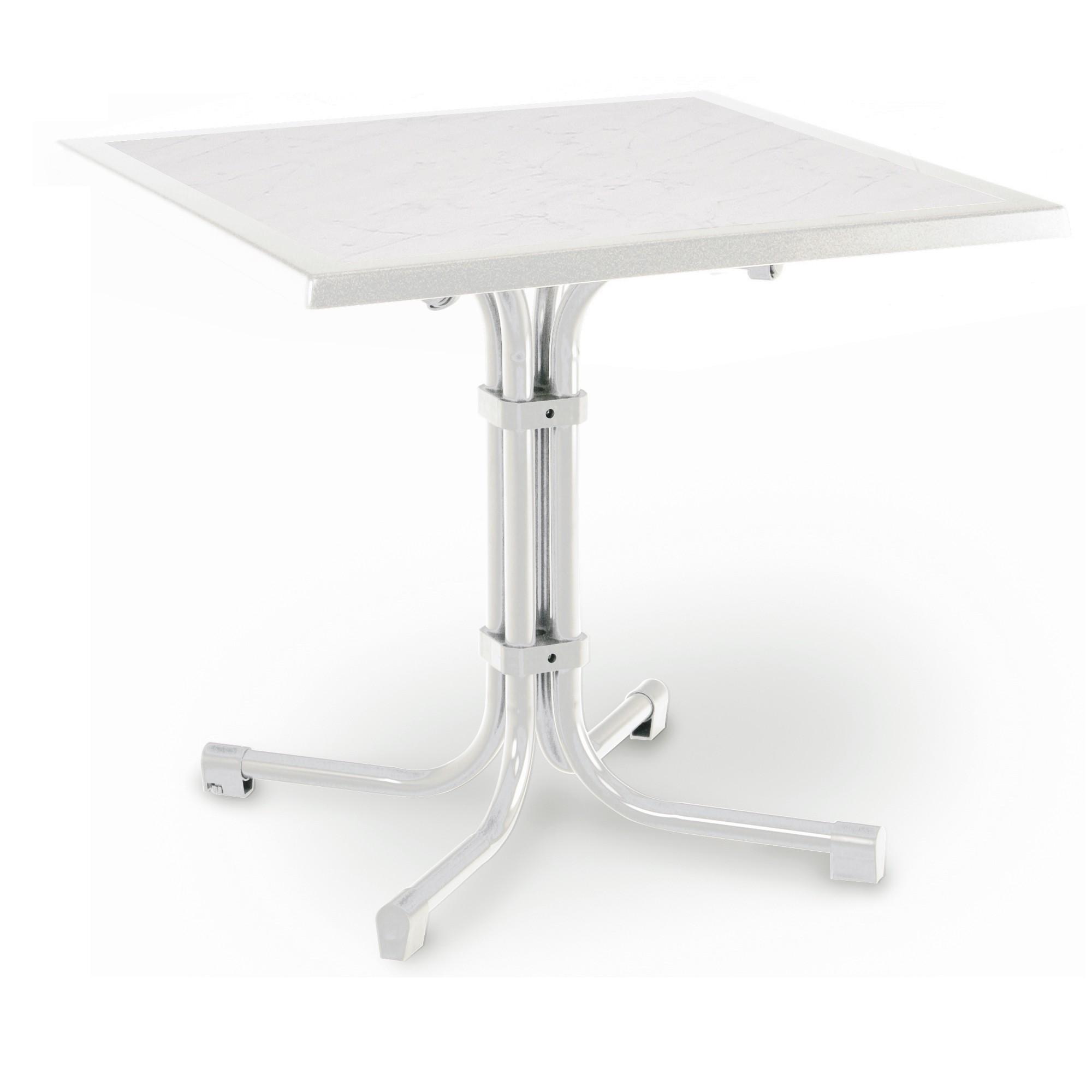 Table de jardin Boulevard - Pliable - Tube en acier / Werzalit - Blanc / Anthracite - Blanc / Marbré